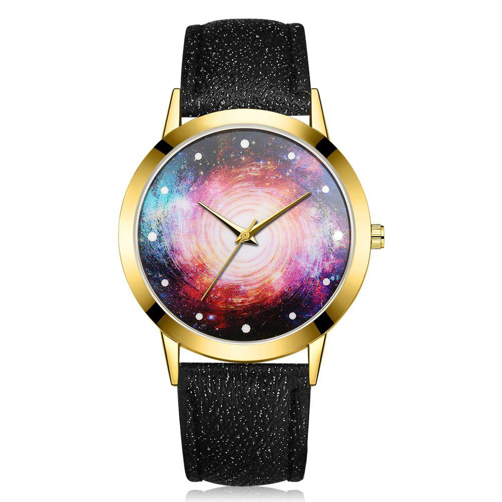 GAIETY G370 Women Watch Leather Strap Starry Sky Face Wrist Watches - BLACK