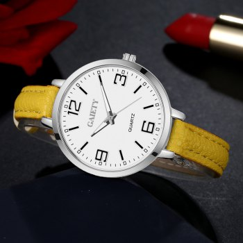 GAIETY G362 Women Watch Small Leather Band Fashion Watches - YELLOW