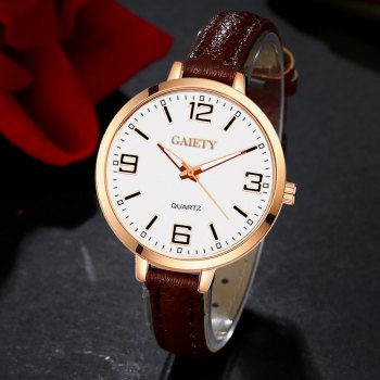 GAIETY G361 Women Watch Easy Read Leather Band Quartz Watches - COFFEE