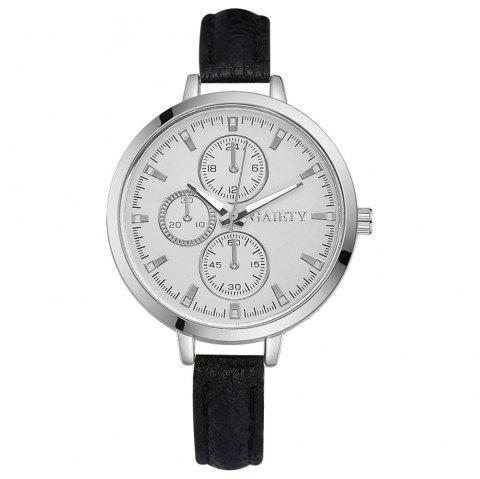 GAIETY G329 Women Leather Watch - BLACK