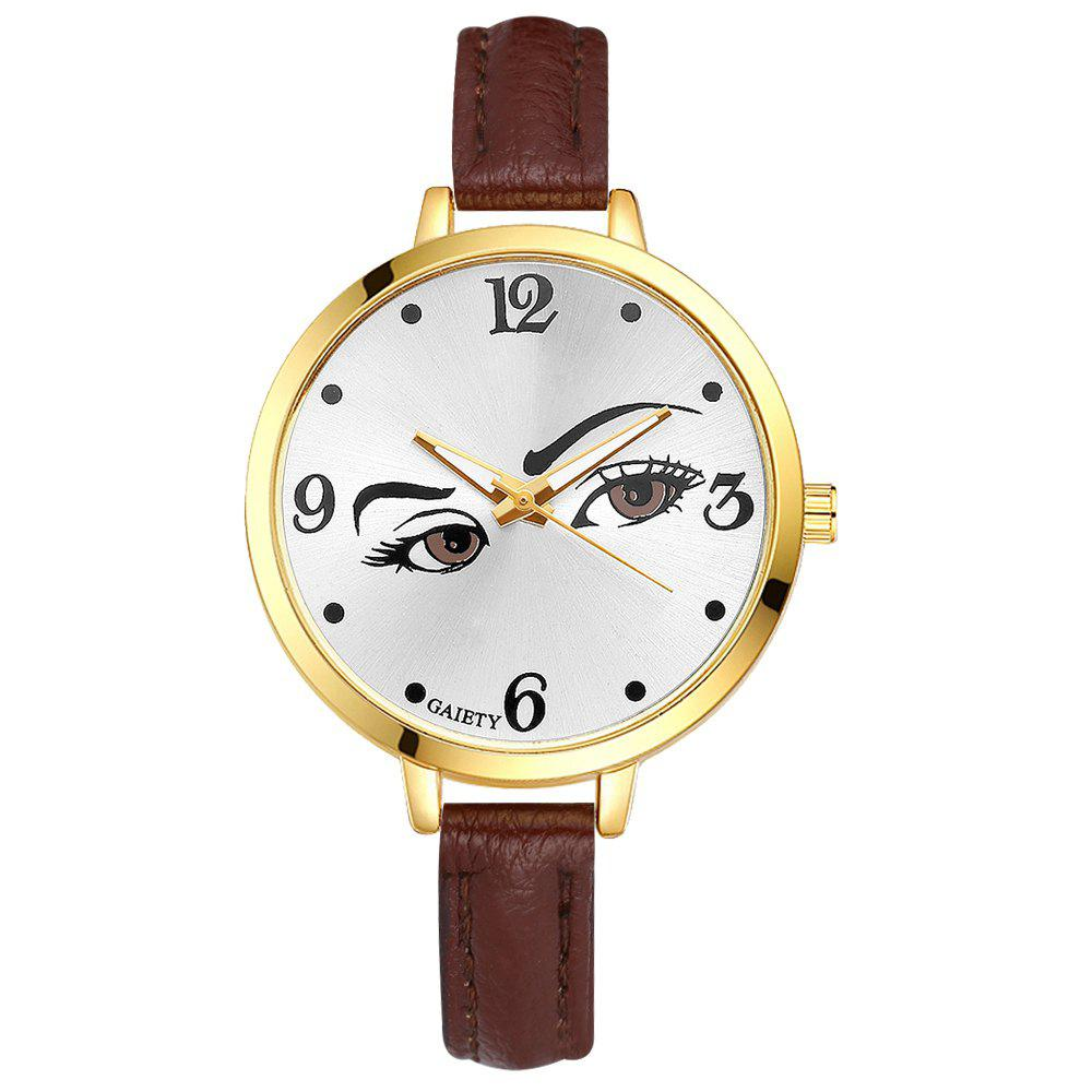 GAIETY G330 Women Leather Fashion Watch - BROWN