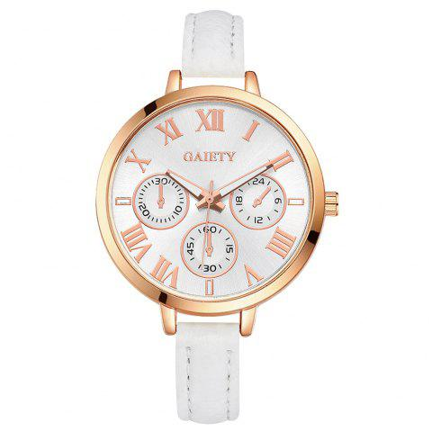 GAIETY G358 Women Watch Leather Band Wrist Watches Rose Gold Tone - WHITE