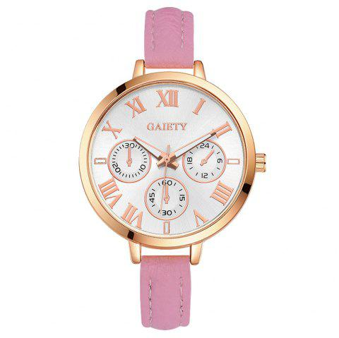 GAIETY G358 Women Watch Leather Band Wrist Watches Rose Gold Tone - PINK