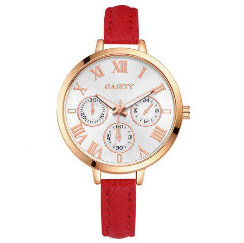 GAIETY G358 Women Watch Leather Band Wrist Watches Rose Gold Tone - RED