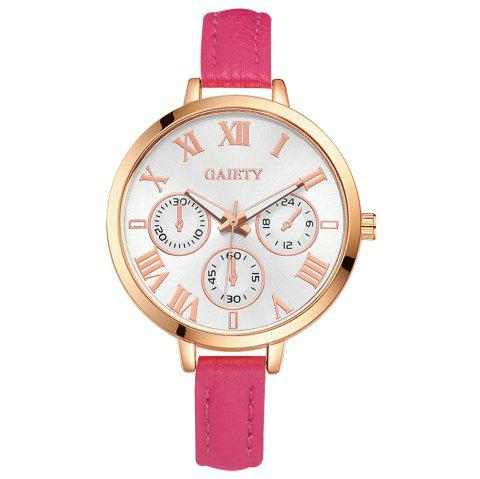 GAIETY G358 Women Watch Leather Band Wrist Watches Rose Gold Tone - ROSE RED