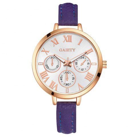 GAIETY G358 Women Watch Leather Band Wrist Watches Rose Gold Tone - PURPLE
