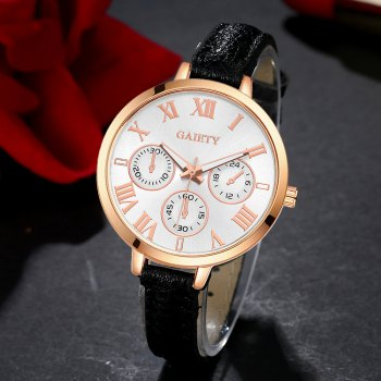 GAIETY G358 Women Watch Leather Band Wrist Watches Rose Gold Tone - BLACK