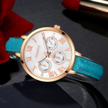 GAIETY G358 Women Watch Leather Band Wrist Watches Rose Gold Tone - SKY BLUE