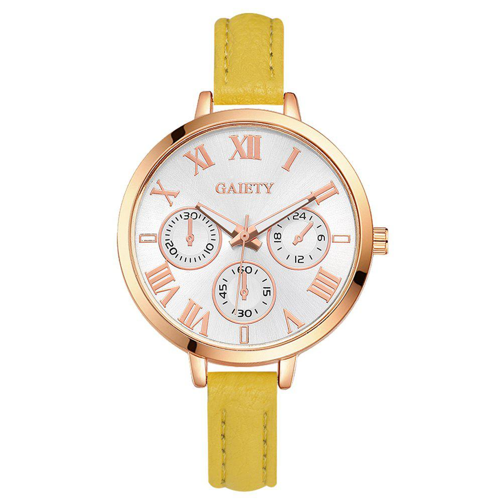 GAIETY G358 Women Watch Leather Band Wrist Watches Rose Gold Tone - YELLOW