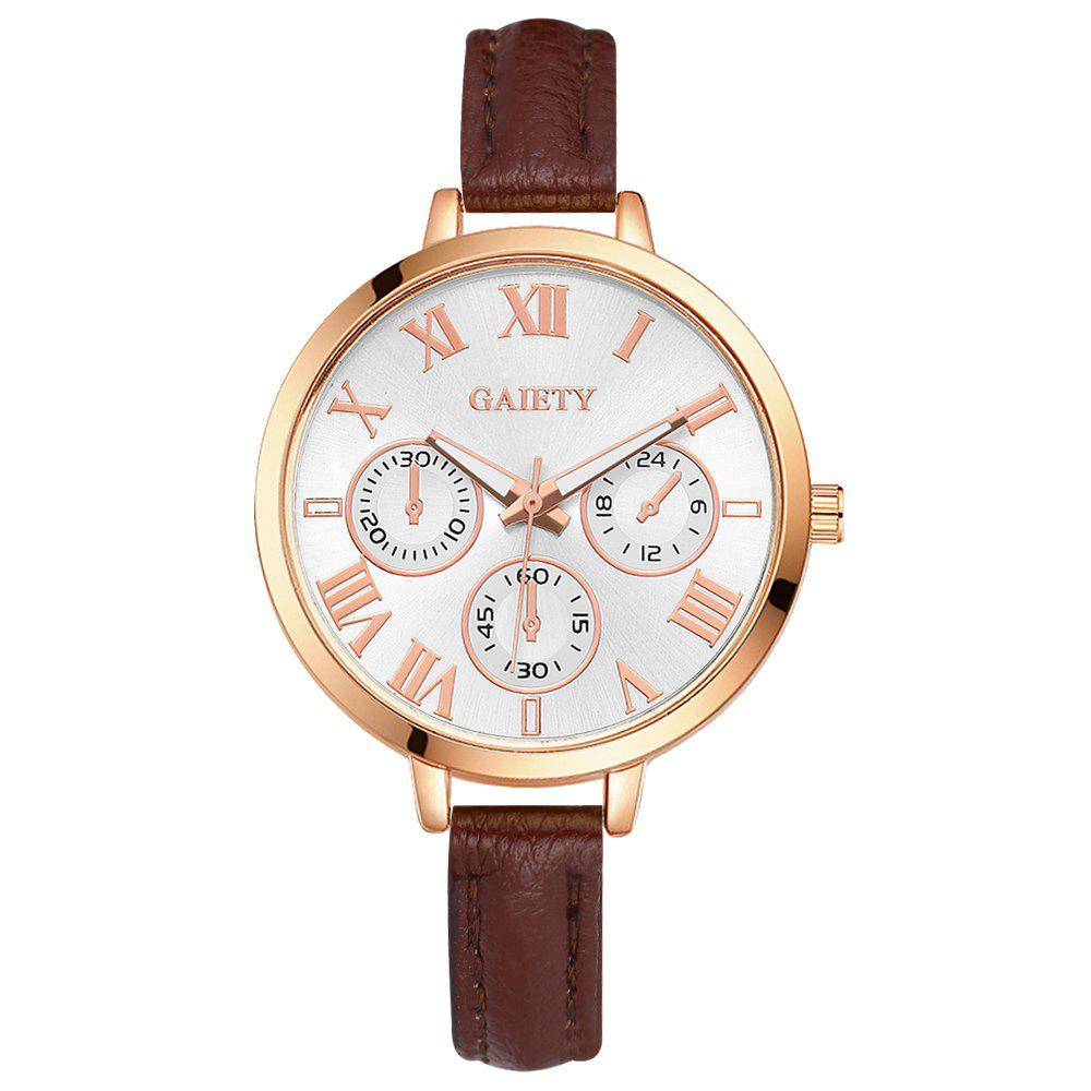 GAIETY G358 Women Watch Leather Band Wrist Watches Rose Gold Tone - COFFEE