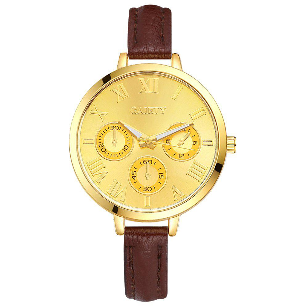 GAIETY G357 Women Watch Small Leather Strap Golden Dial Dress Watches - COFFEE