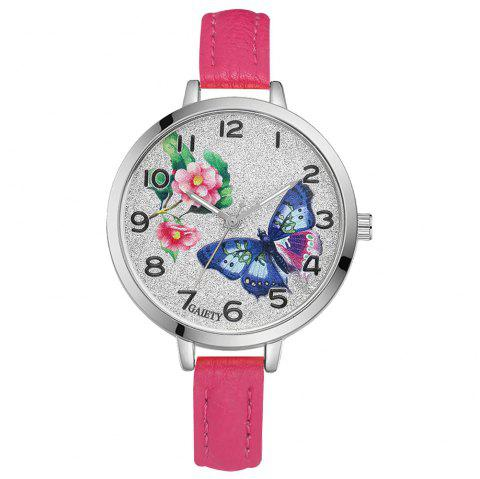 GAIETY G353 Women Silver Tone Bezel Leather Strap Quartz Watch - ROSE RED