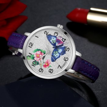 GAIETY G353 Women Silver Tone Bezel Leather Strap Quartz Watch - PURPLE