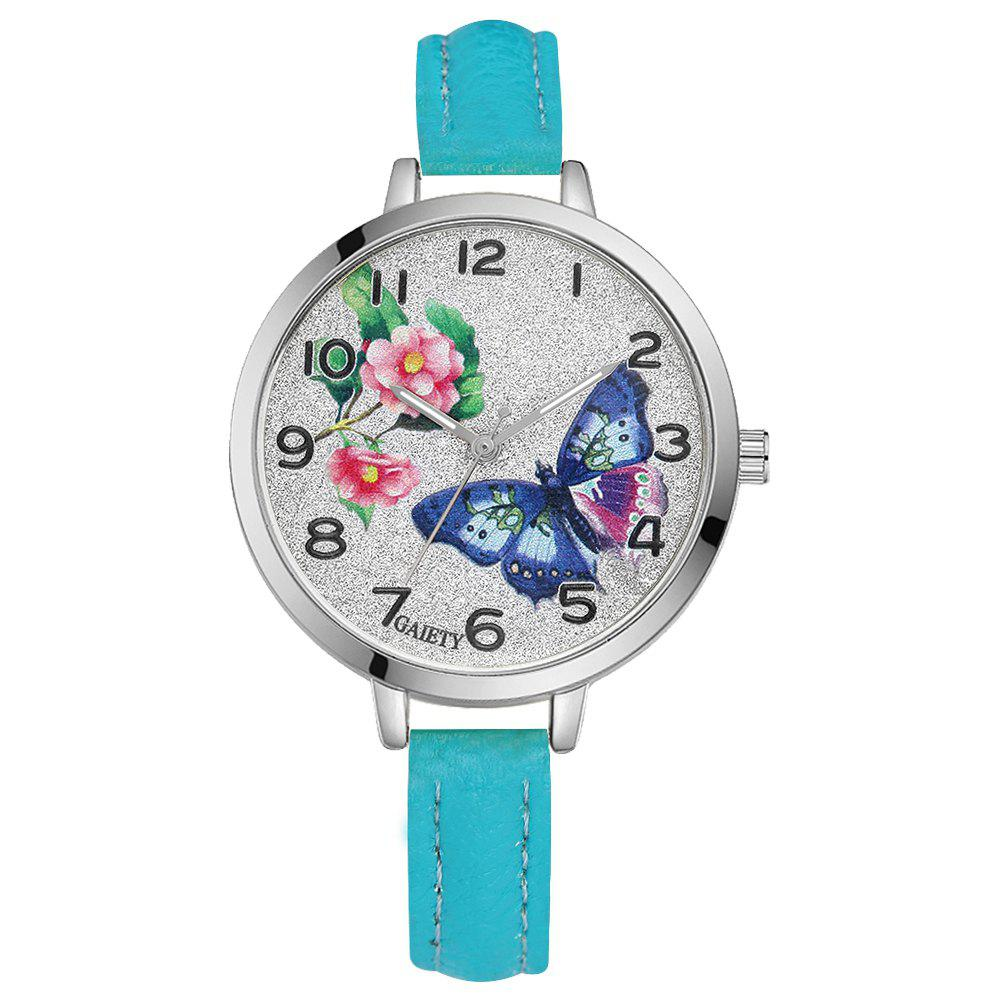 GAIETY G353 Women Silver Tone Bezel Leather Strap Quartz Watch - SKY BLUE