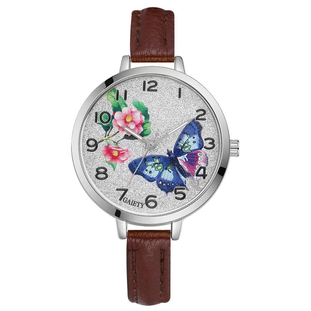 GAIETY G353 Women Silver Tone Bezel Leather Strap Quartz Watch - COFFEE