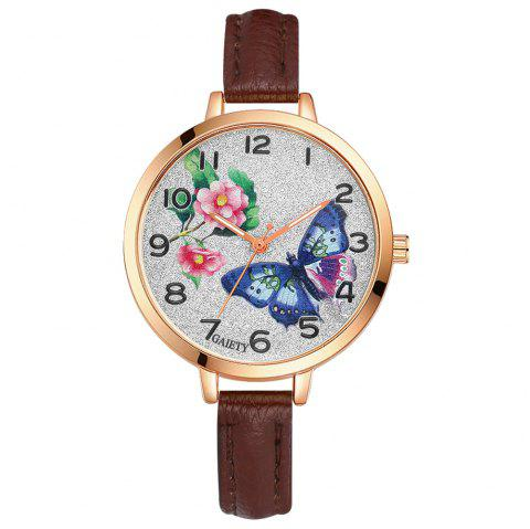 GAIETY G352 Women Flowers Face Leather Band Quartz Watches - COFFEE