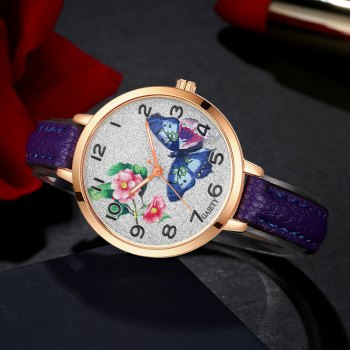 GAIETY G352 Women Flowers Face Leather Band Quartz Watches - PURPLE