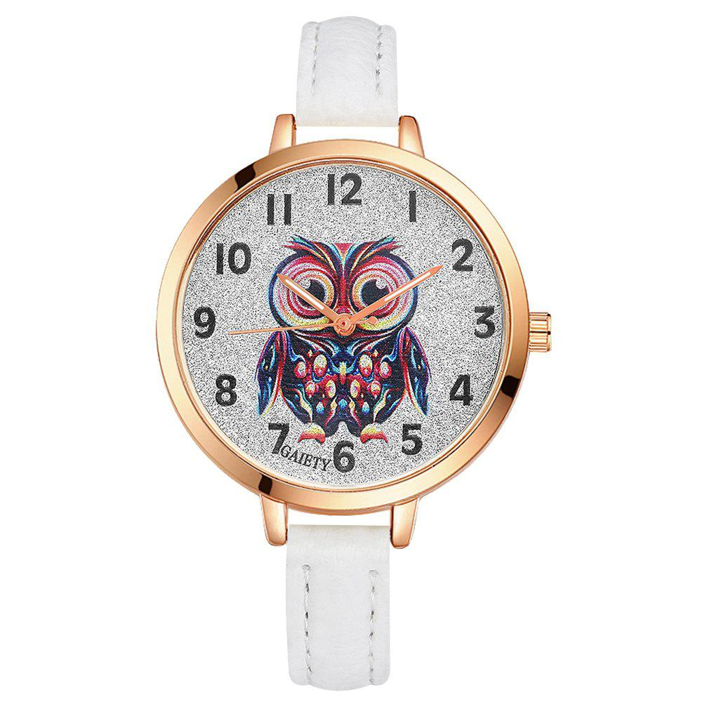 GAIETY G349 Women Owl Face Rose Gold Tone Bezel Leather Band Watch - WHITE