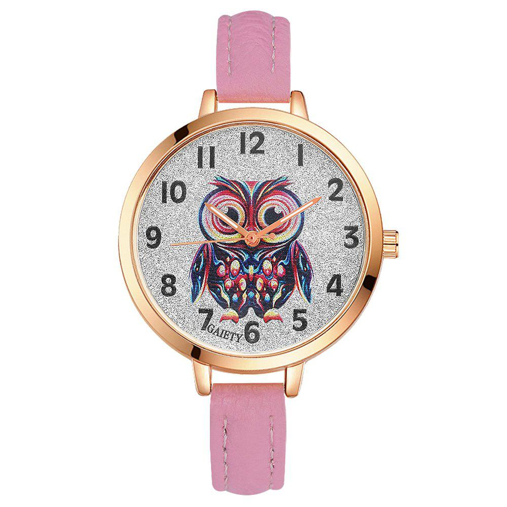 GAIETY G349 Women Owl Face Rose Gold Tone Bezel Leather Band Watch - PINK