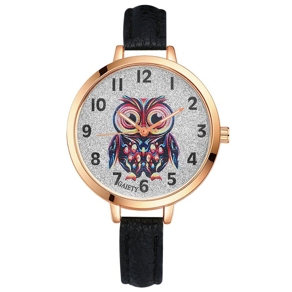 GAIETY G349 Women Owl Face Rose Gold Tone Bezel Leather Band Watch - BLACK