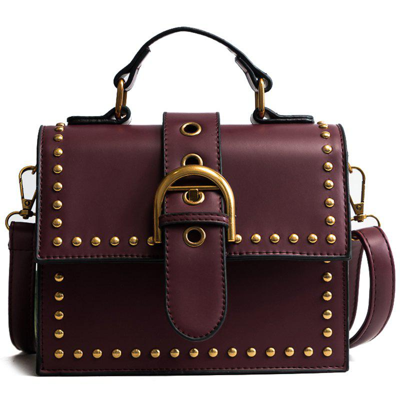 Rivet Envelope Bag Retro Shoulder Bag Lock Messenger Bag - RUBY