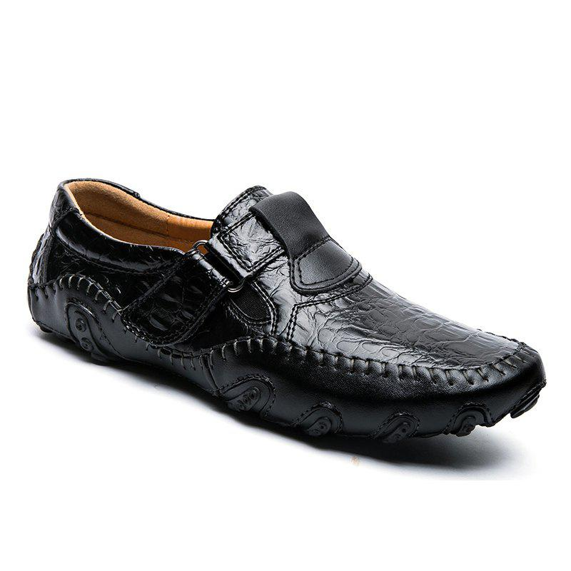 Hot Newest Wear Resisting Crocodile Grain Casual Driving Shoes Comfortable Breathable Loafers Plus Size branded men s penny loafes casual men s full grain leather emboss crocodile boat shoes slip on breathable moccasin driving shoes