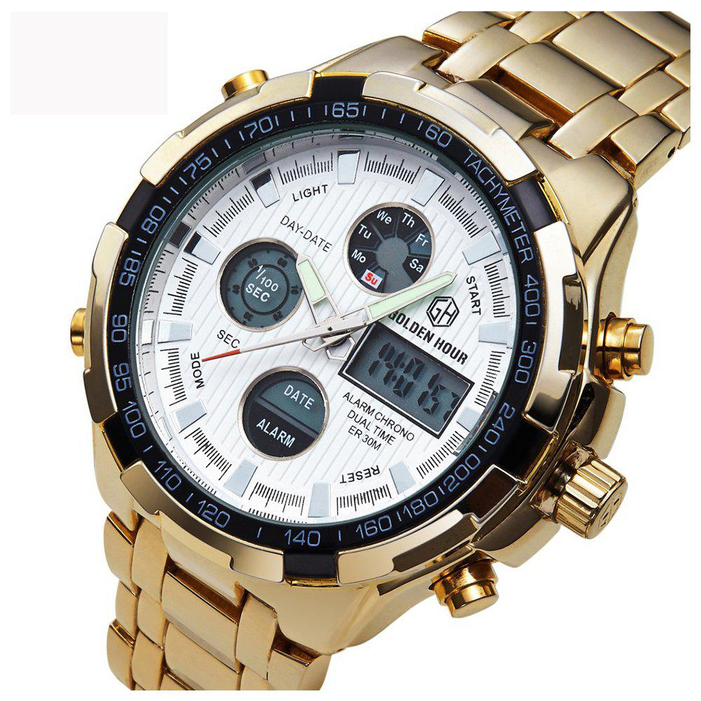 Watches Men Luxury Brand AMUDA Gold Golden Watches Men Sports Quartz-Watch Dual Time Relogio Masculino - WHITE