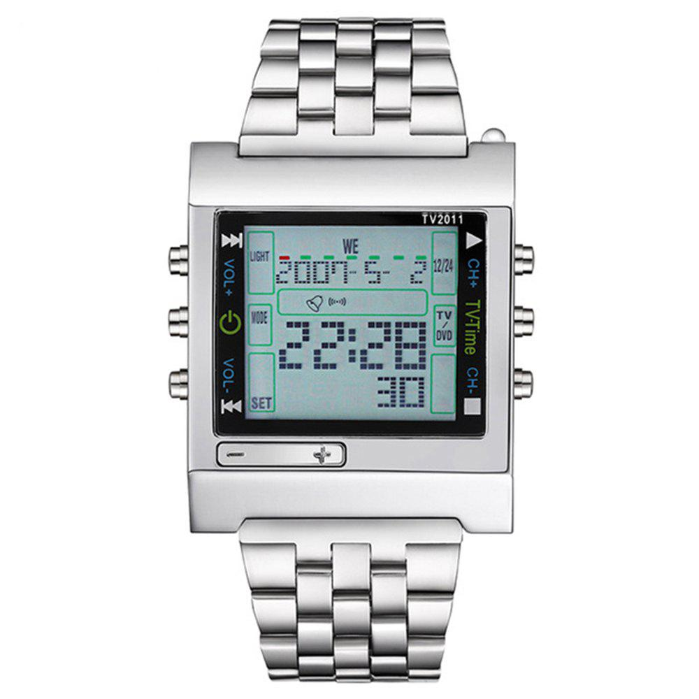 Men'S Electronic Watch Waterproof Luminous Square Dial Watch Accessory - SILVER