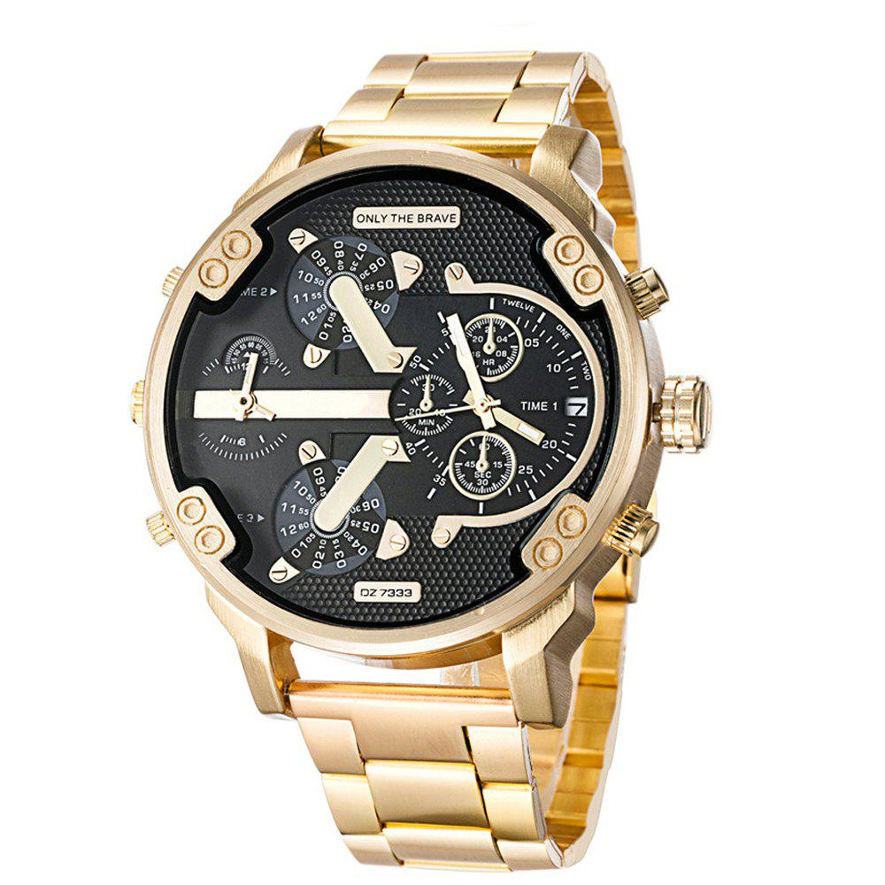 Brand Luxury Wristwatch Military Clock Sport Big Dial Stainless Steel Business Metal Watch Bracelets Men Relogio Masculi - GOLDEN