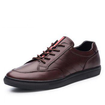 Cattle Skin Rubber Bottom Business Leisure Shoes - RED 42