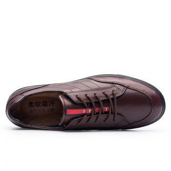 Cattle Skin Rubber Bottom Business Leisure Shoes - RED 40