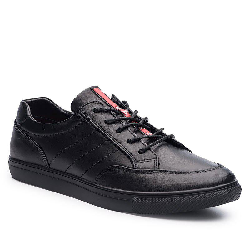 Cattle Skin Rubber Bottom Business Leisure Shoes - BLACK 38