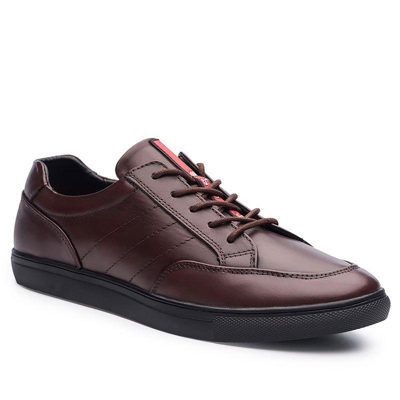 Cattle Skin Rubber Bottom Business Leisure Shoes - RED 44
