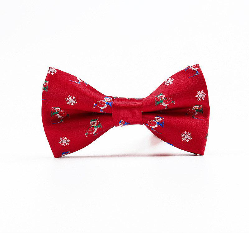 Christmas Man Polyester Jacquard Bow - RED SNOWFLAKE