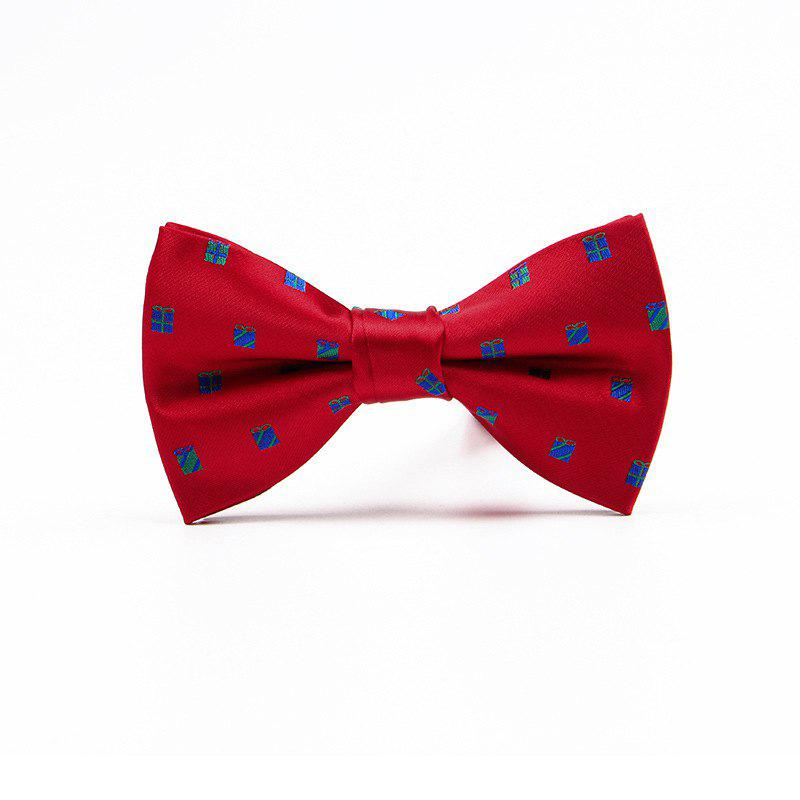 Christmas Man Polyester Jacquard Bow - SHOCKING