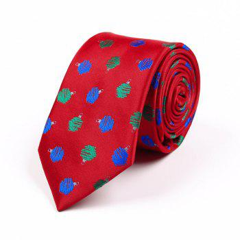 75CM Christmas Theme Polyester Jacquard Tie - RED WAVE POINT RED WAVE POINT