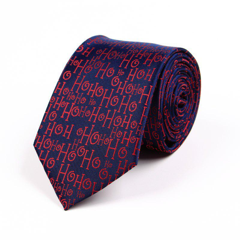 75CM Christmas Theme Polyester Jacquard Tie - DARK PURPLE FLOWERS