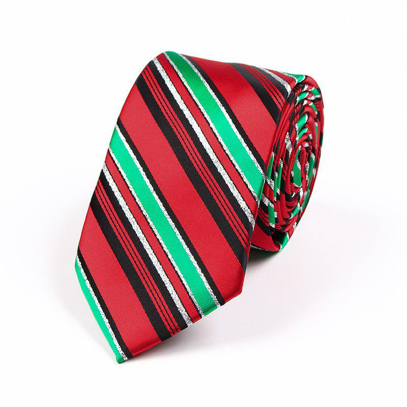 75CM Christmas Theme Polyester Jacquard Tie - RED