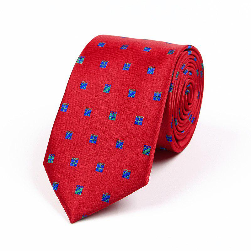 75CM Christmas Theme Polyester Jacquard Tie - SHOCKING