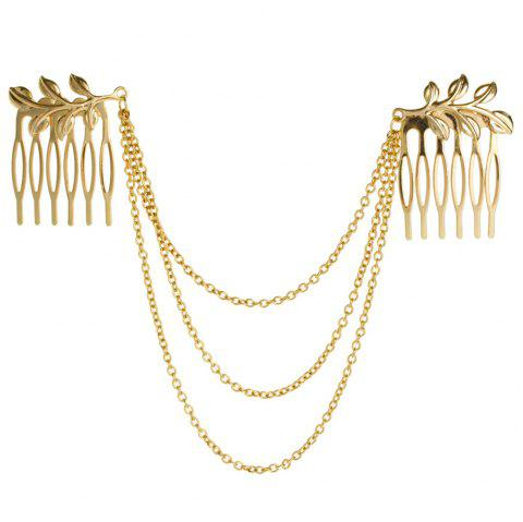 Leaves chain tassel hair comb leaf jewelry - GOLD