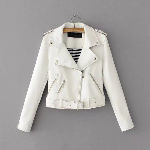Women Basic PU Leather Short Motorcycle Jacket Zipper Pockets Sexy Punk Casual Outwear Tops - WHITE M