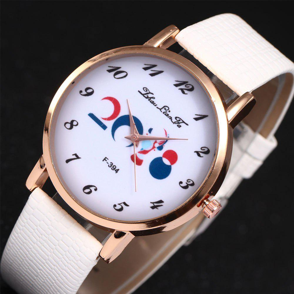 ZhouLianFa New Outdoor Fashion High-End Rose Gold Watch Crocodile Pattern Olympic Quartz Watch - WHITE