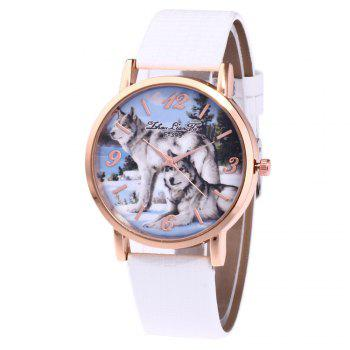ZhouLianFa New Luxury Ladies Brand Crocodile Pattern Leisure Wolf Quartz Watch - WHITE WHITE