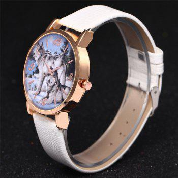 ZhouLianFa New Luxury Ladies Brand Crocodile Pattern Leisure Wolf Quartz Watch -  WHITE