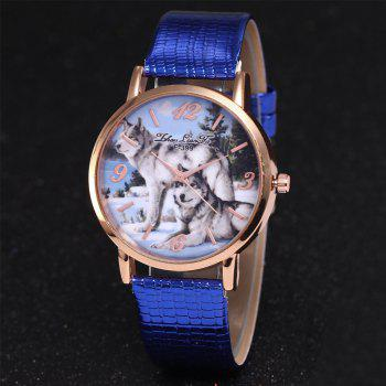 ZhouLianFa New Luxury Ladies Brand Crocodile Pattern Leisure Wolf Quartz Watch - BLUE