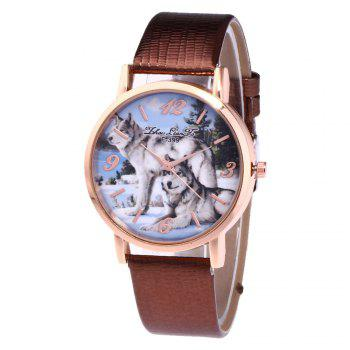 ZhouLianFa New Luxury Ladies Brand Crocodile Pattern Leisure Wolf Quartz Watch - COFFEE COFFEE