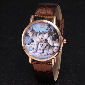 ZhouLianFa New Luxury Ladies Brand Crocodile Pattern Leisure Wolf Quartz Watch -  COFFEE