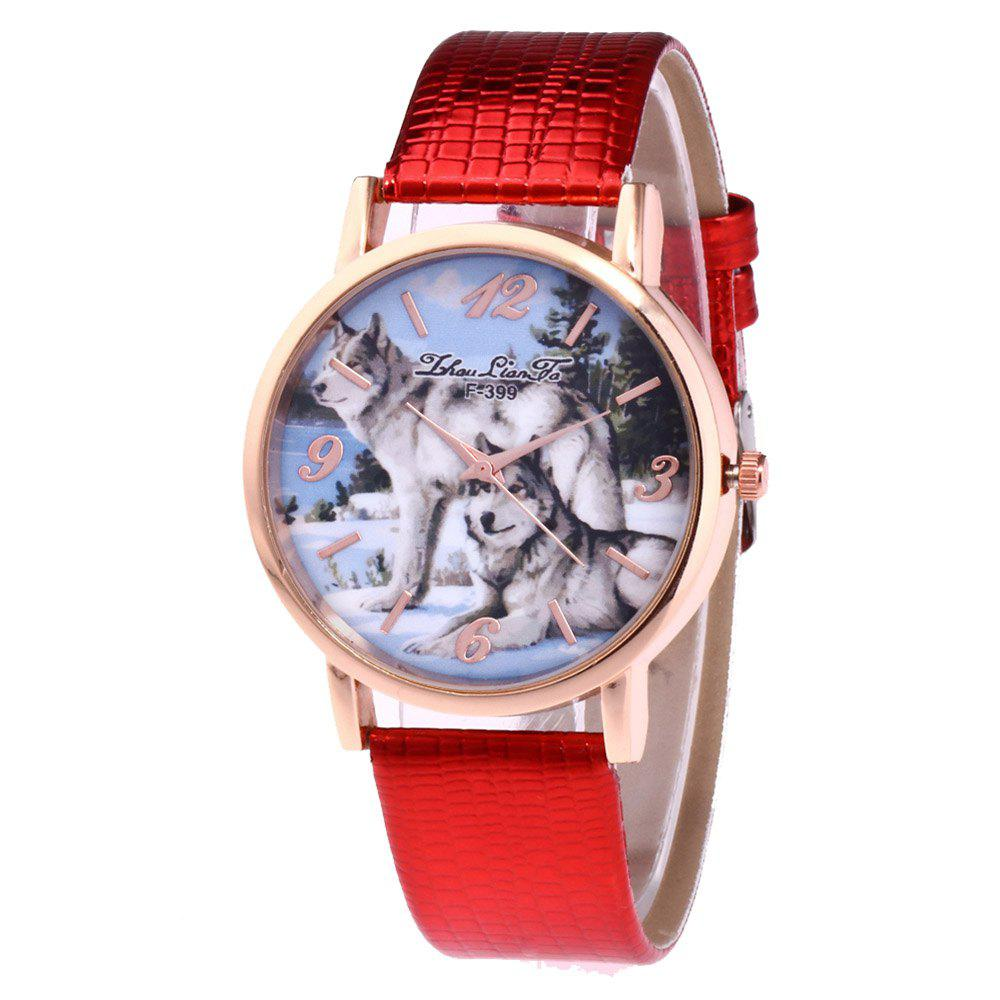 ZhouLianFa New Luxury Ladies Brand Crocodile Pattern Leisure Wolf Quartz Watch - RED