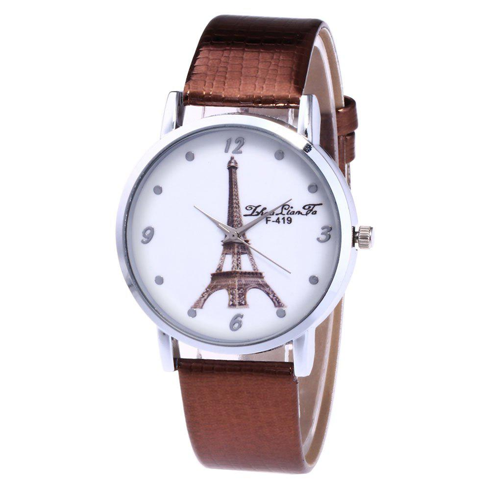 ZhouLianFa The New Brand of Luxury Crocodile Pattern Watch Tower Ladies Watch - COFFEE