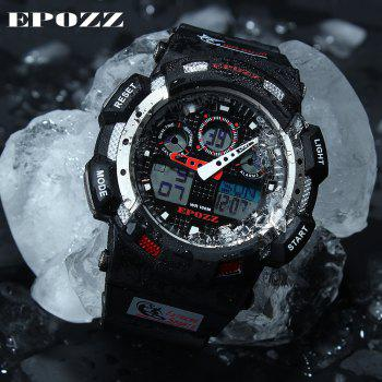 EPOZZ 3001 Dual Display Watch 100M Waterproof Men Watch Alarm Clock Stop Watch - BLACK/RED
